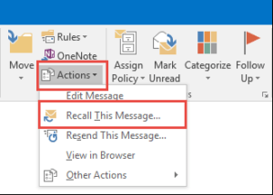 actions in outlook