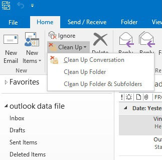 outlook clean up folder