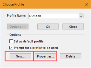 add new profile in outlook