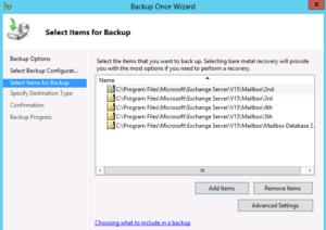 backup exchange database