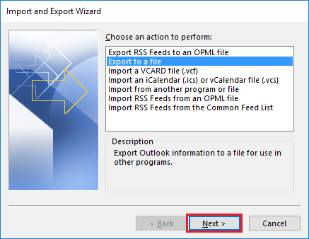 export eml to pst