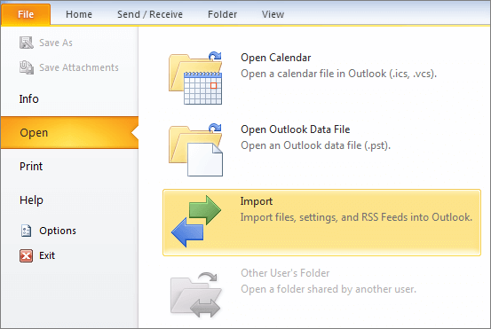 import export files in outlook