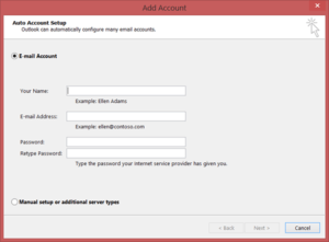 manually add account to desktop outlook