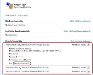 outlook remove from vault credential manager