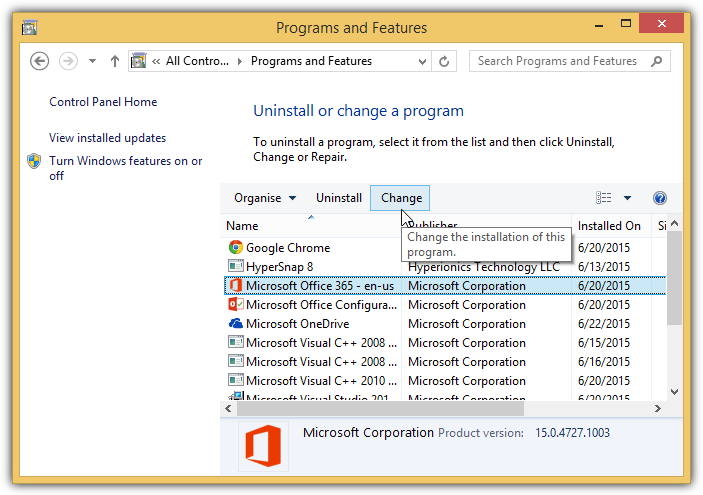 repair ms office 2016