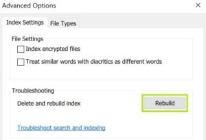 rebuild outlook search indexing