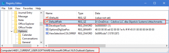 change outlook 2016 attachment folder