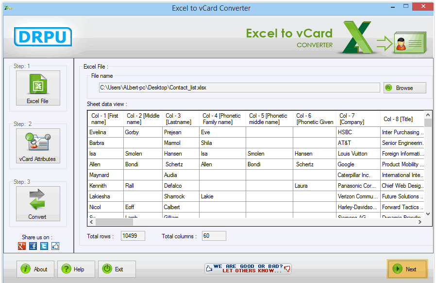 drpu excel to vcard