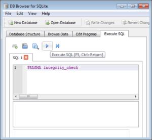 repair sqlite database
