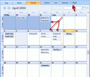 outlook 2016 calendar view