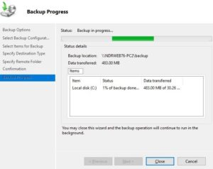 back up with windows exchange server