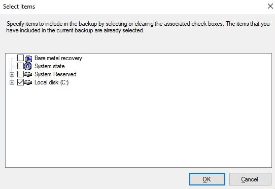 exchange server backup items