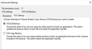 vss backup exchange server