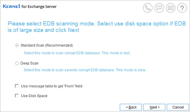 scan corrupt edb file via kernel edb to pst tool