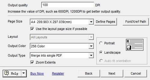 settings for output pdf