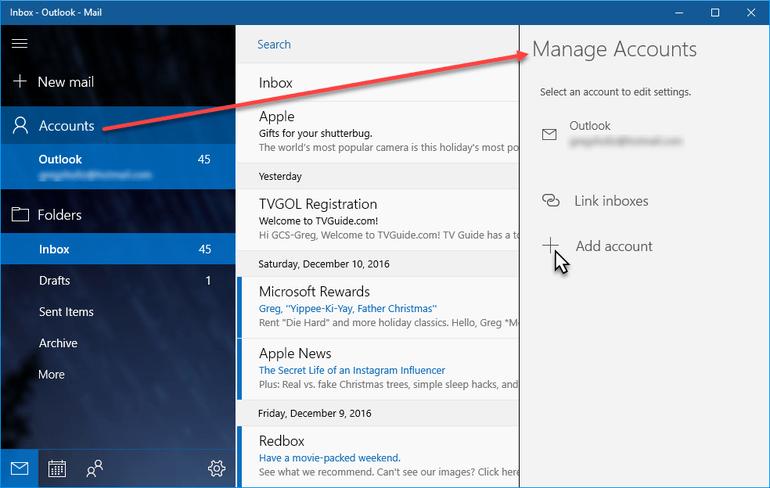 add windows mail app account