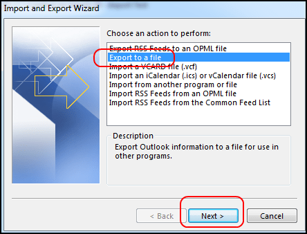 export task in outlook 2016