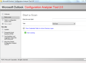fix outlook issue with outlook configuration analyzer tool