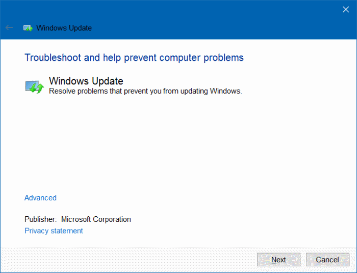 fix windows could not update error in windows 10