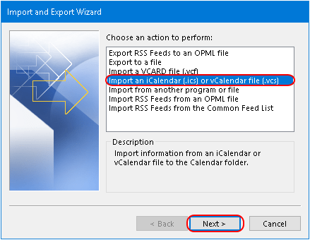 import outlook calendar