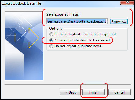 save tasks in outlook