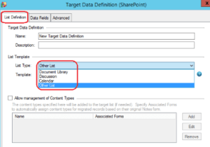 select nsf data type for pst conversion