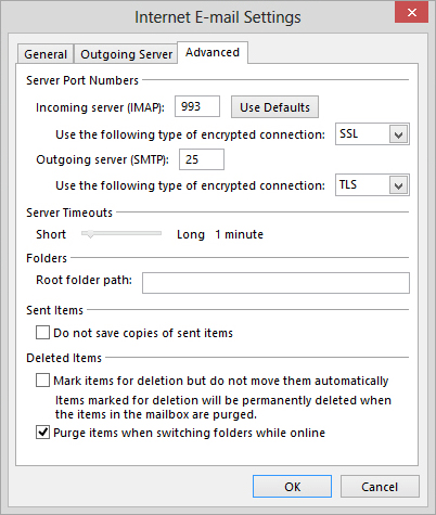 check aol advanced settings