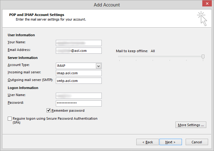 enter aol account info