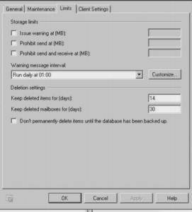 exchnage mailbox size target quota error fix