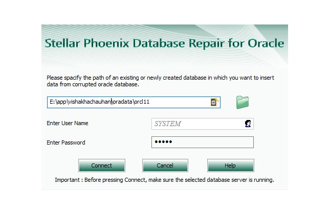 login and save oracle dbf files