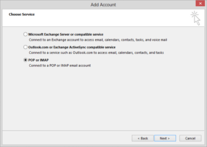 select pop or imap method to add account
