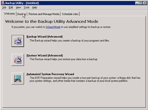 exchange server ntbackup