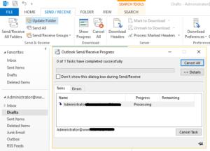 outlook offline folder sync with exchange server