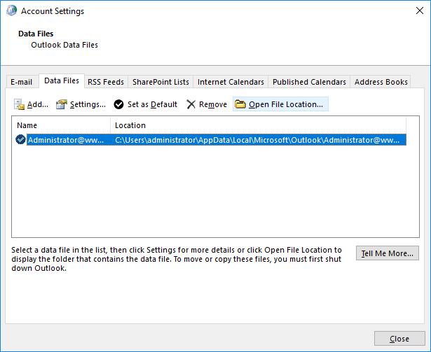 delete outlook ost data file