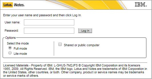 ibm lotus notes web login