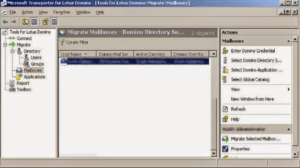 select nsf mailbox to transfer
