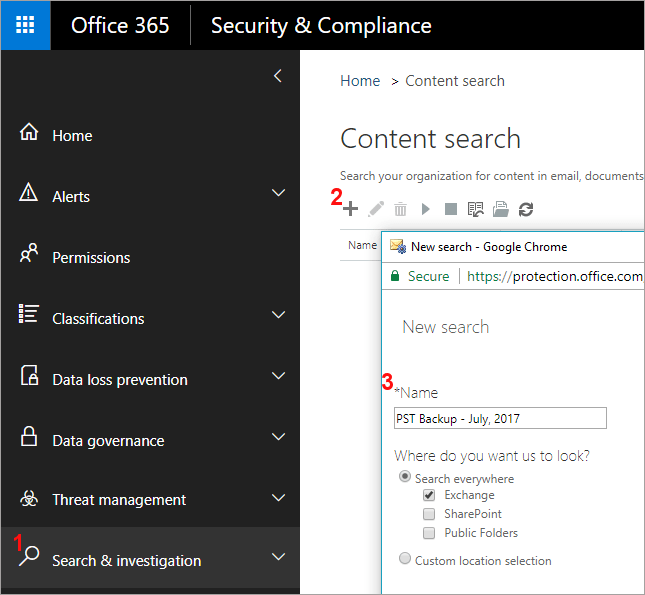 office 365 backup content search ediscovery