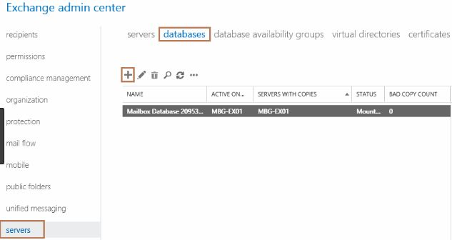 create mailbox in exchange server