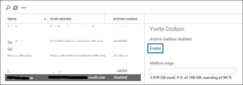enable email archiving in office 365