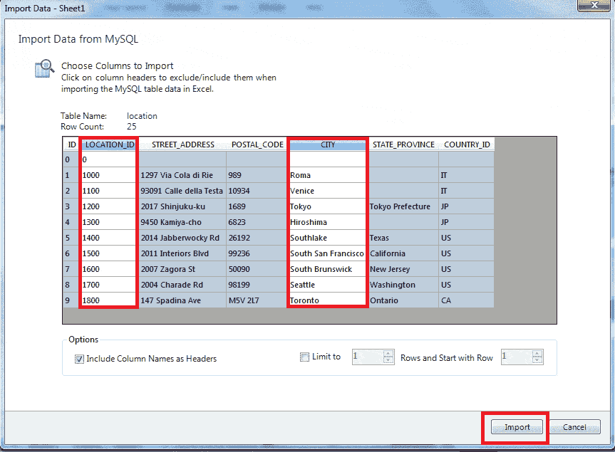 import mysql to excel spreadsheet