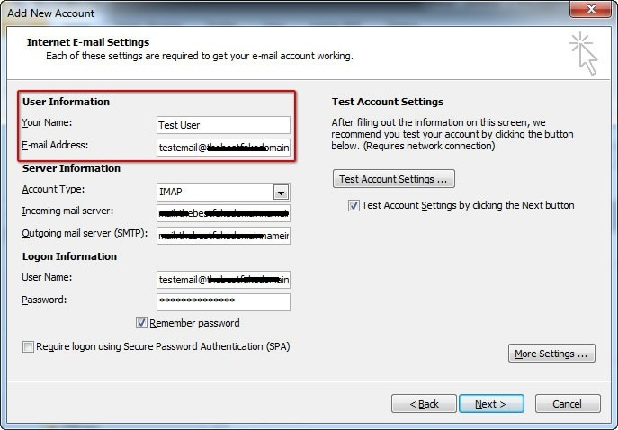 pop imap account to outlook