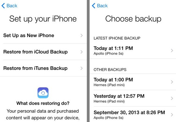 restore items from icloud