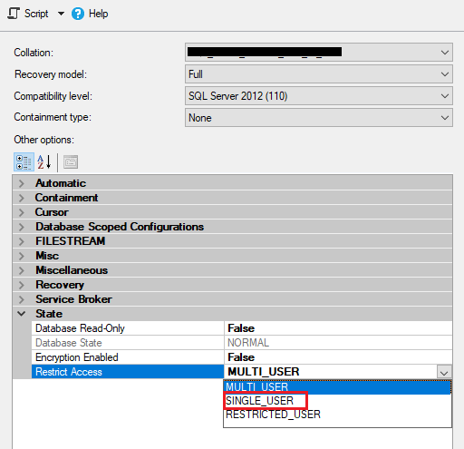 sql database single user mode