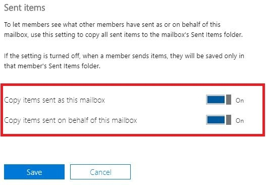 copy sent items as this mailbox shared folders
