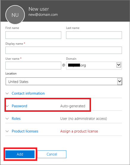 office 365 admin add user